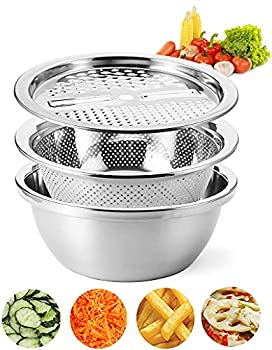 Cedilis 10 Inch Multifunctional Stainless Steel Basin Drain Basket with Vegetable Cutter Multifunction Julienne Grater 3 in 1 Colander and Bowl Set Including Slicer Peeler Great Salad Maker Bowl
