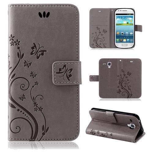 betterfon | Flower Case Handytasche Schutzhülle Blumen Klapptasche Handyhülle Handy Schale für Samsung Galaxy S3 Mini Grau