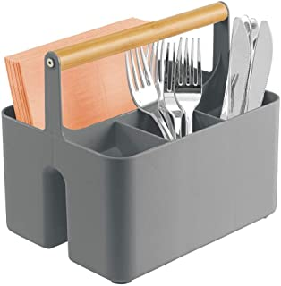 mDesign Plastic Portable Storage Organizer Kitchen Caddy Tote, Divided Bin with Wood Handle for Napkins, Silverware, Forks...