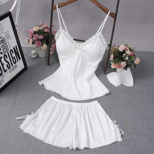 JFCDB Zomer pyjama,Nieuwe satijnen vrouwen slaap set nachtkleding lente lange mouw pyjama pyjama set sexy gewaad kimono badjas casual nachtkleding, witte pyjama set, XXL