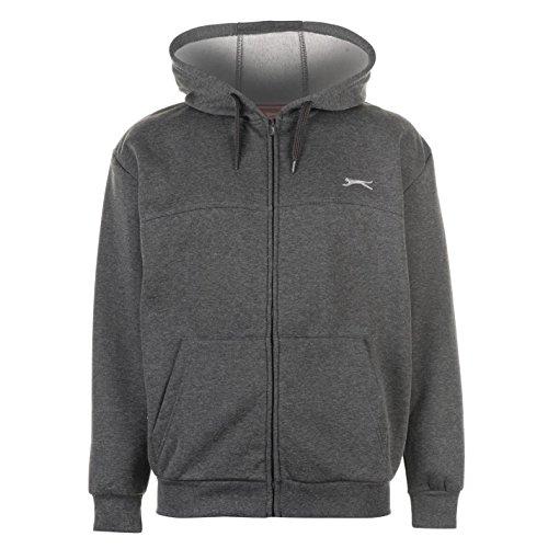 Slazenger Herren Zip Hoody Langarm Freizeit Hoodie Kapuzenpullover Sweatshirt Grau XXXX Large