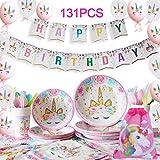Yidaxing 131 Piezas Decoraciones Cumpleaños Unicornio, Unicorn Party...