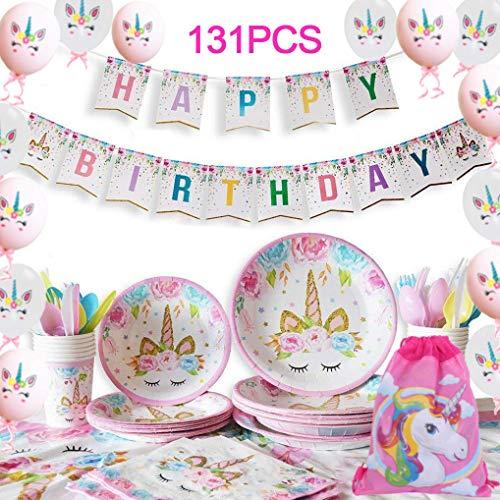 Yidaxing 131 pcs Dekorationen Geburtstage Einhorn, Einhorn Party Kit Tischdecke Abdeckung Alles Gute zum Geburtstag Banner Tasche Einhorn Luftballons für Kinder Geburtstag Mädchen (16 Gäste)