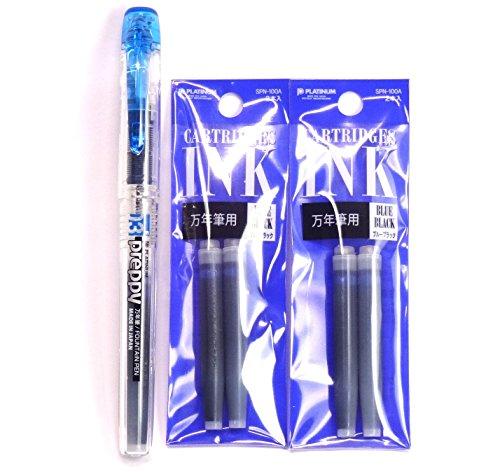 Platinum Fountain Pen, Preppy, Fine Nib, Blue Black (PPQ-200-#3) + Ink Cartridges SPN-100A#3(Blue Black) Set (Japan Import)