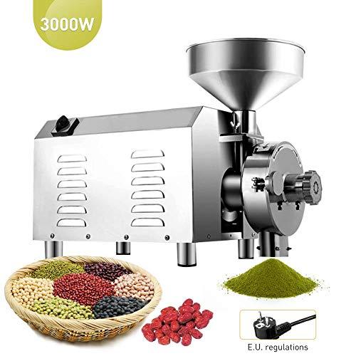 IDABAY Kommerziell Elektrische Getreidemühle Edelstahl,Industrielle Kornmühle Grinder,Gewürz- und Kaffeemühle Pulvermaschine,für Weizen Mais Kaffee Pfeffer Sojabohne (50-65kg/h,3000W)