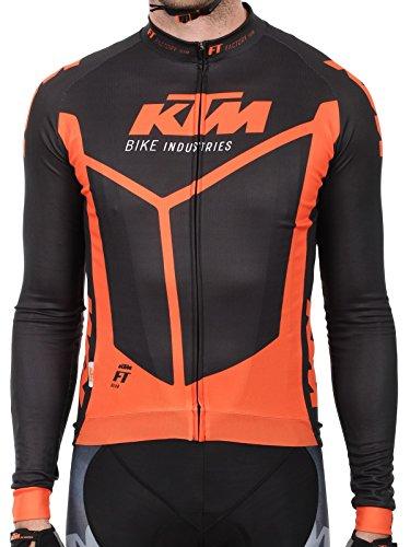 Ktm Langarm Mtb Trikot Factory Team Race Spring Schwarz-Orange (M , Schwarz)