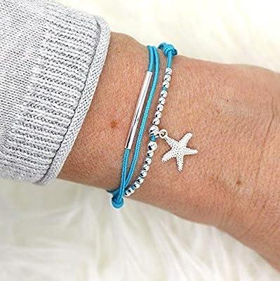 Bracelet cordon femme triple tours étoile de mer