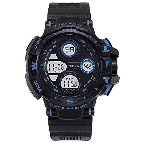 XIN Reloj del ejército Impermeable Multifuncional Luminoso Tendencia Reloj electrónico de los Hombres del Reloj de los Deportes de los Hombres (Azul Negro)