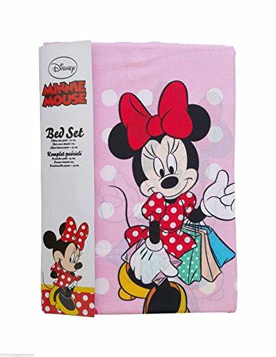Disney Completo Letto Lenzuola Singolo Minnie Cotone Set sopra sotto con Angoli Federa