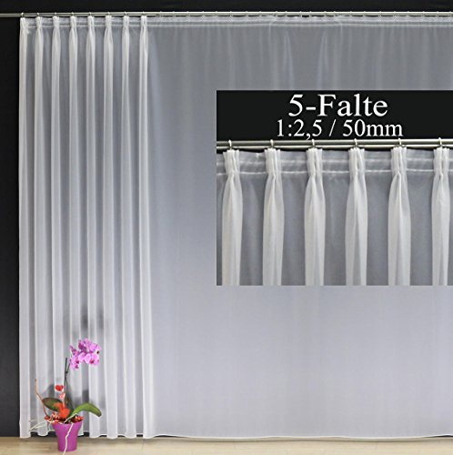 EASYHomefashion Hochwertige Fertiggardine Voile Store mit Faltenband&Bleiband 5-Falten-KRÄUSELBAND 1:2,5/50 mm, versch. Größen, 245 x 300 cm (HöhexBreite)