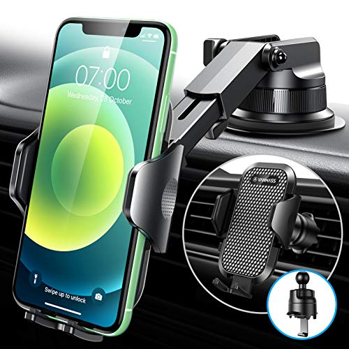 [Military-Grade Sturdiness] VANMASS Cell Phone Holder for Car, [Upgraded Hook Clip & Suction], Universal Dash Windshield Air Vent Car Phone Mount, Compatible with iPhone 12 11 Pro Max 8 Galaxy S21 S20