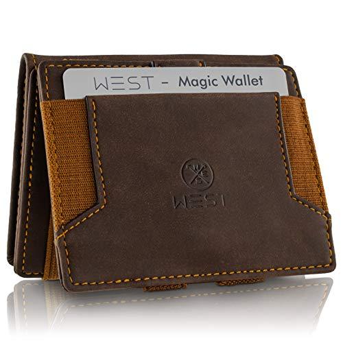 WEST - Magic Wallet (Braun) - Der HINGUCKER (großes Münzfach) - inklusive Edler Geschenkbox - Geldbeutel mit Münzfach - Der perfekte Begleiter für unterwegs - RFID Datenschutz