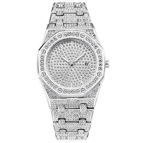 Hip Hop Reloj de Diamantes Calendario Reloj de Cuarzo para Hombres Bling Cristal Reloj de Oro para Hombres Reloj de Banda de Metal (Plata)