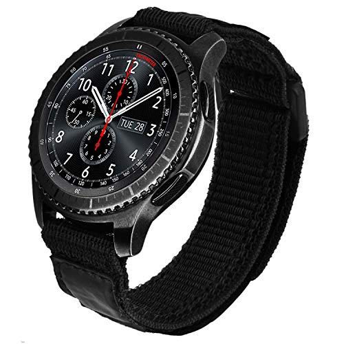 V-MORO Nylon Strap Compatible with Galaxy Watch 46mm Bands/Gear S3 Frontier Band Black Men 22mm Soft Breathable Woven Loop Replacement for Samsung Galaxy Watch3 45mm/Galaxy Watch 46mm/Gear S3 Smartwatch