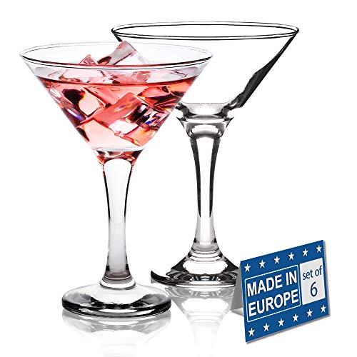 Martini Glasses Set of 6, Classics 6 Piece Martini Set, Perfect Cocktail Glasses, 6 Ounce Capacity