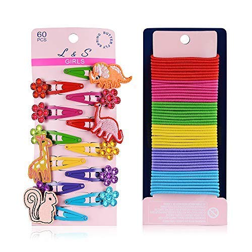 BUTERFLY SPRING Animal Styling Metal Snap Hair Clips and Elastic Hair Tress Sets(60 pcs ): 4 cm (1.6 inches) dinosaur clips giraffe clips squirrel clips and 48 count candy-colored 2 mm elastic hair ties for kids under 6 years old