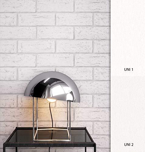 NEWROOM Steintapete Tapete Weiß Modern Papiertapete Papier moderne Design 3D Optik Steintapete Ziegelstein Backstein Mauerwerk Loft inkl. Tapezier Ratgeber