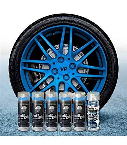 AutoFullCar Pack 5 Sprays Full Dip Azul Metalizado Brillo