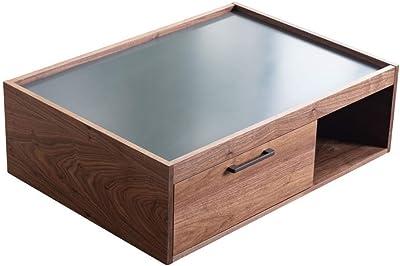 Marque Amazon - Movian Ljungan Table basse à 2tiroirs, 98x70x32,5cm, Gris et finition effet noyer