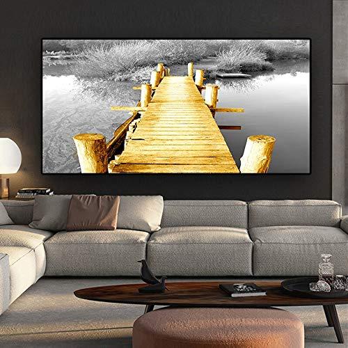 N / A Schwarzweiss-Landschaft Jinqiao Leinwandplakat und druckt modernes Wandbild Wohnzimmerbild rahmenloses Gemälde 50cmX100cm