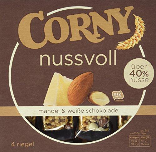 Corny Nusvoll Mandel und Weiße Schokolade 4er, Nussriegel mit über 50% Nüsse, 12er Pack (12 x 4 x 24 g)