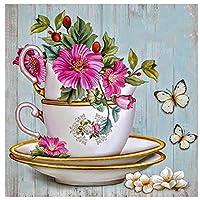 DIY数字油絵 塗り絵キット パズル油絵 花と蝶 デジタル油絵 手塗り 数字キットによる絵画 絵かき インテリア 壁飾り ホームデコレーション 40x50cm(額縁なし)