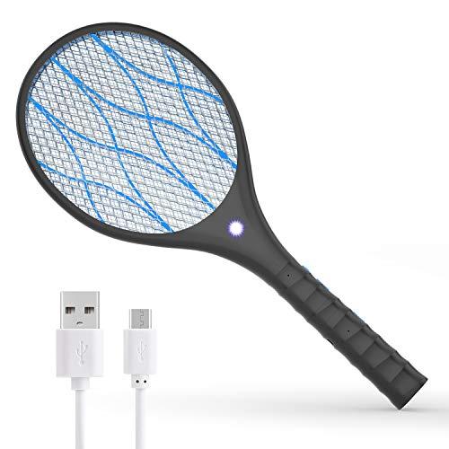Xddias Elektrische Fliegenklatsche, USB Aufladbar Muecken Tennisschlaeger, Fliegen Insekten Schlaeger mit 4000 Volt und Abnehmbare Taschenlampe