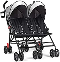 BABY JOY Double Light-Weight Stroller, Travel Foldable Design, Twin Umbrella Stroller with 5-Point Harness, Cup Holder, Sun Canopy for Baby, Toddlers (Gray)