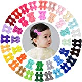 WillingTee 80 Pieces 2 Inch Grosgrian Ribbon Small Hair Bow Fully Ribbon Lined Alligator Clips Hair Accessories for Baby Girls Infants Toddlers Kids Children 40 Colors in Pairs