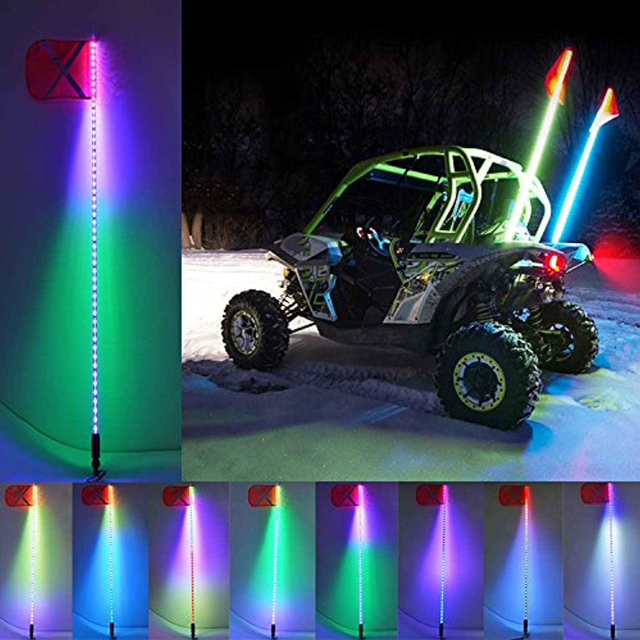 BMM 5F(1.5m) Lighted whips multi-Color Changing 300 Patterns Led Flag Antenna Whip Light Quick Release remote control for ATV UTV SUV 4wd 4x4 Truck Beach Light Driving Lamp