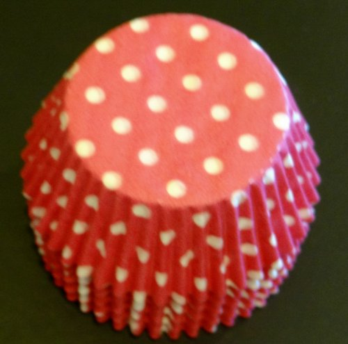 100 Hot Pink with White Polka Dots Cupcake Liners Baking Cups STANDARD SIZE