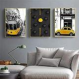 Carteles de paisaje de paraguas de coche de estilo amarillo Imagen de paisaje de ciudad europea Impresiones artísticas de pared nórdica Decoración para el hogar Imágenes impresas-50x70cmx3 Sin marco