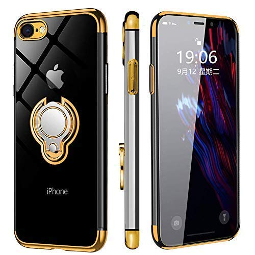 iPhone7ケース/iPhone8 ケース リング付き クリア 落下防止 耐衝撃 スタンド機能 透明 TPU 防塵 薄型 軽量 一体型 変形防止 全面保護カバー アイフォンケース [4.7インチ] MJJ-SJ-1037-1-05