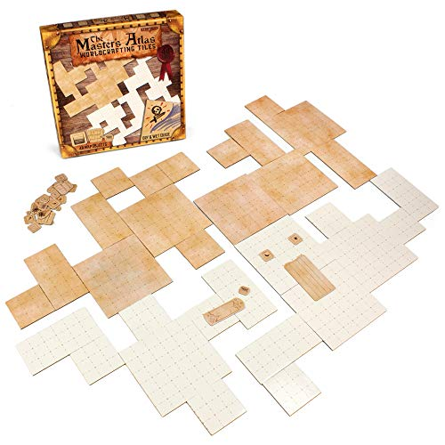 The Master's Atlas (Blank/Parchment) | 44 Reversible Dry & Wet Erase Map Grid Tiles | 48 Dungeon Object Tokens: Treasure, Doors, Stairs and More | RPG Tabletop Role Playing Mat for Fantasy Gaming