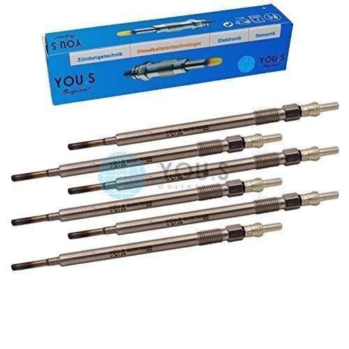 YOU.S Original A0011596601 Glühkerzen Länge 148 mm Spannung 7 V (6 Stück)