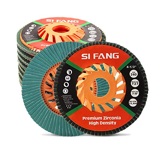 SI FANG 4.5inch x 7/8inch 240Grit Premium Zirconia Flap Sanding Disc Stearate Coated Abrasive Grinding Wheel Bevel Perfect for Polishing Copper Aluminum Stainless Steel Soft Metals and Paint