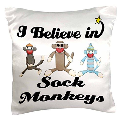 3dRose pc_105557_1 I Believe in Sock Monkeys-Pillow Case, 16 by 16'