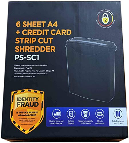 6 Sheet Strip Cut Paper Shredder, Credit Card Shredder for Home Use with...