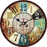 VIKMARI Relojes de Pared de Madera de 14 Pulgadas Que Funcionan con Pilas y Que no Hacen tictac Reloj de Pared Colorido Vintage Relojes de Pared de Madera de Cuarzo Reloj (Estilo Francia París)