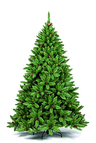 DMORA Albero di Natale 'Claudia', Altezza 210 cm, Con pigne incluse, Verde, 1132 rami, 140 x 140 x 210 cm