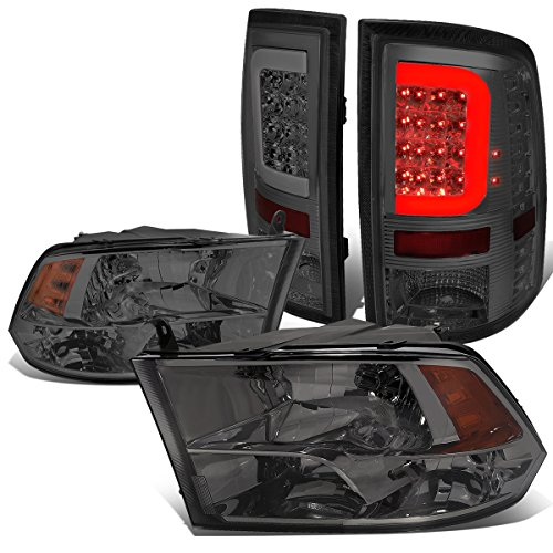 Replacement for Dodge Ram Pair Smoked Housing Amber Corner Quad Headlight+3D LED Smoke Lens Tail Lights