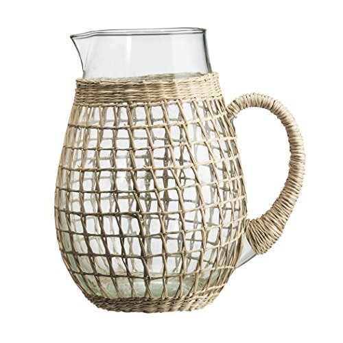 Amici Home, , Calypso Collection Glass Pitcher, Recycled Glass, All Natural Handwoven Rattan Wrapping, 64 Ounces