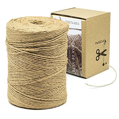Cuerda de Yute de 2mm de espesor x 400mts de alta calidad + Caja Dispensadora. Cuerda Natural fabricada en España perfecta para manualidades, bricolaje y decoración
