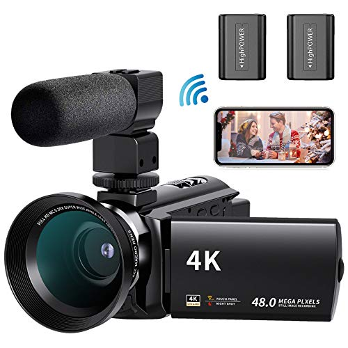 4K WiFi Videocamera FamBrow UHD 48MP Camcorder IR Visione Notturna Vlogging Youtube Fotocamera 3.0' IPS Touchscreen 16X Zoom Digital Webcam con Obiettivo Grandangolare Microfono 2 Batterie