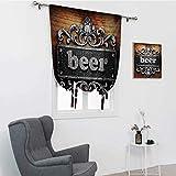 GugeABC Cortinas de amarre con texto en inglés, color plateado con texto de cerveza, fondo de madera, estilo rústico, con aislamiento térmico, color gris pálido, 106 x 183 cm