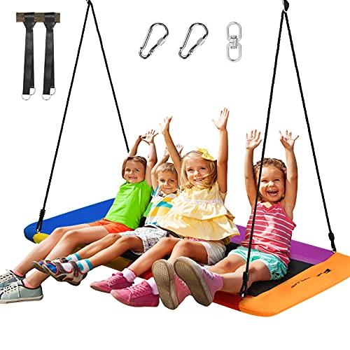 GOPLUS Nestschaukel, Rechteckige Schaukel, Hängeschaukel mit 3 m Verstellbarem Seil, aus Metallrohr, 300kg Tragkraft, stabil, Innen- & Außenbereich, für Kinder Erwachsene, 150 x 80cm (Farbig)
