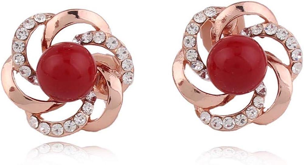 HAPPYAN Women's Bridal Wedding Rhinestone Faux Pearl Flower Shape Clip on Earrings Charm Jewelry Accessory