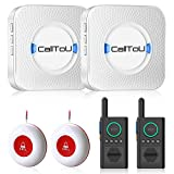 CallToU Caregiver Pager Wireless Call Button Alert System with Home Intercom System for Elderly/Patient/Pregnant 1.5 Miles Long Range 2 Way Radio for Home/Officeing