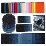 54 pezzi toppe termoadesive jeans appliqués applicazioni adesive per tessuti per cucire su set da cucito per bambini adulti, toppa per tessuto da stirare denim per pantaloni fai-da-te borsa vestiti