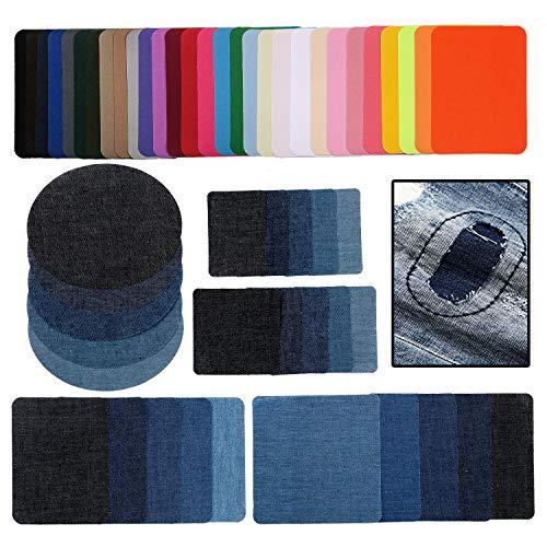 54 Stück Aufbügelflicken Jeans Applikationen zum Aufnähen Nähen Set für Kinder Erwachsene,Denim Aufnäher Patches Bügelbilder Bügelflicken Aufbügler Aufbügeln Hosenflicken für DIY Hose Tasche Kleidung